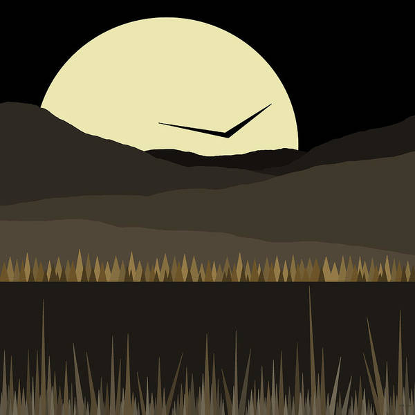 Semis Digital Art - Solo Flight - Black And Gold - Golden Nights by Val Arie