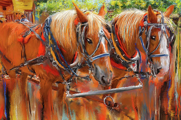 Wall Art - Painting - Solvang California Horse Drawn Wagon Art by Lourry Legarde