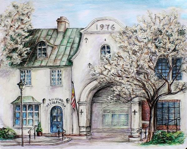 Blooming Tree Drawing - Solvang Spring by Danuta Bennett