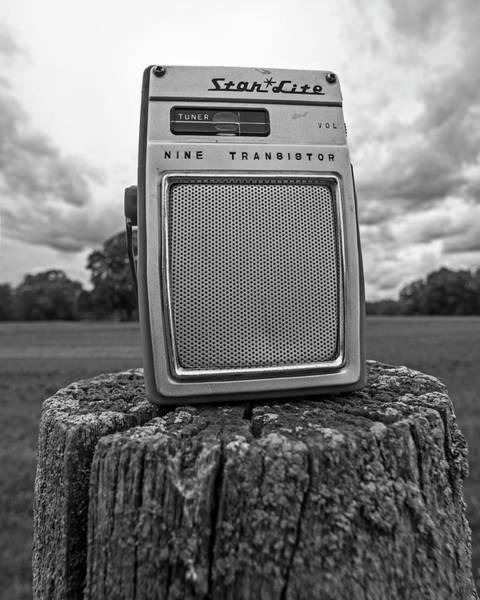 Photograph - Some Tunes On The Farm Star Lite Radio Black And White by Toby McGuire