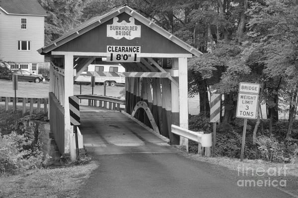 Garrett County Wall Art - Photograph - Somerset Burkholder Covered Bridge Black And White by Adam Jewell