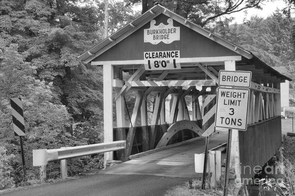 Garrett County Wall Art - Photograph - Somerset County Burkholder Covered Bridge Black And White by Adam Jewell