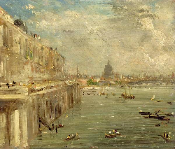 1837 Painting - Somerset House Terrace From Waterloo Bridge by John Constable