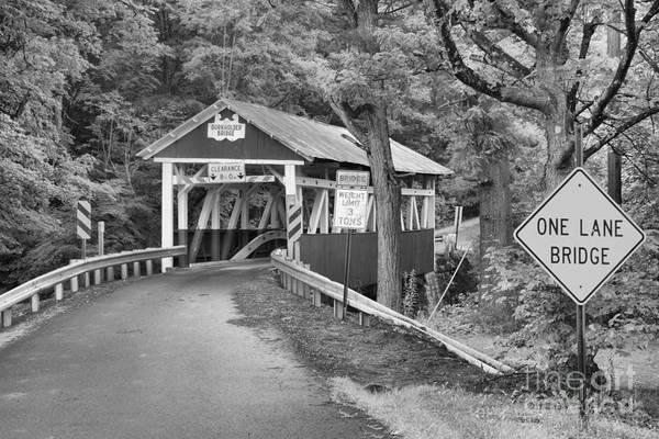 Garrett County Wall Art - Photograph - Somerset One Lane Bridge Black And White by Adam Jewell