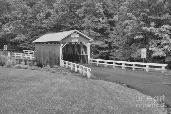 Somerset County Photograph - Somerset Packsaddle Covered Bridge Black And White by Adam Jewell