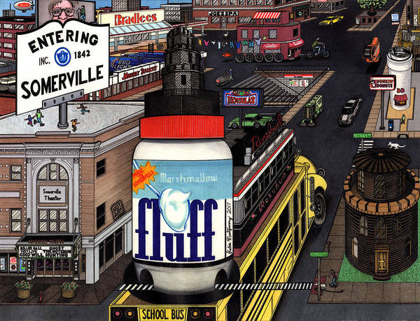 Historic Drawing - A Strange Day In Somerville  by Richie Montgomery