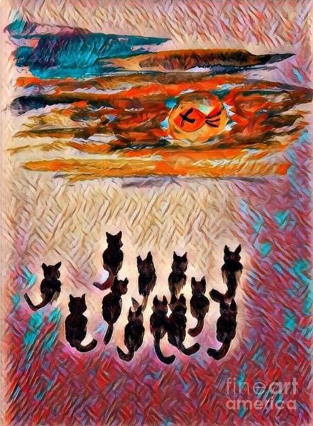 Mlk Digital Art - Something Fishy - Abstract Kitties by Scott D Van Osdol