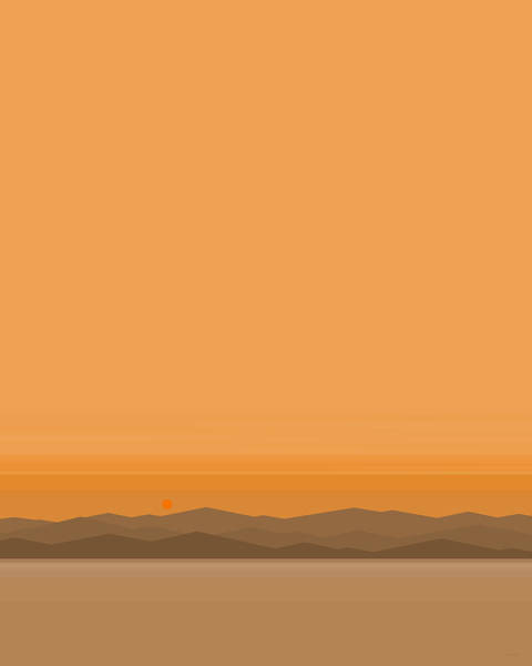 Digital Art - Somewhere Out West - A Peaceful Orange Sunset by Val Arie