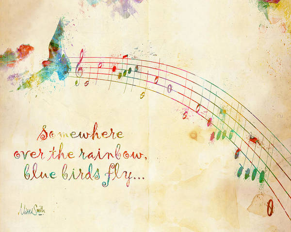 Grunge Music Wall Art - Digital Art - Somewhere Over The Rainbow by Nikki Smith