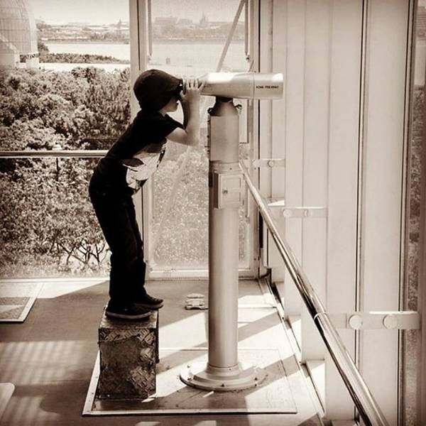 Japan Photograph - Son Looking Out Into The Pacific While by Alex Snay