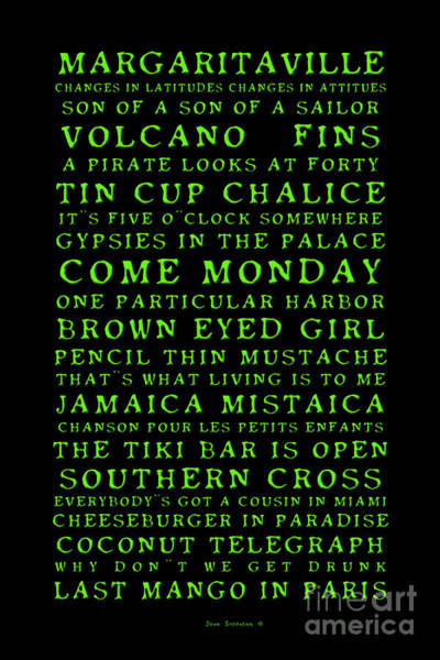 Wall Art - Photograph - Songs You Know By Heart Jimmy Buffett Concert Set List Old Style Embossed Green Font On Black by John Stephens
