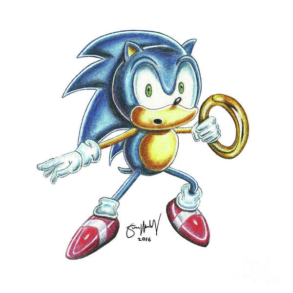 Popart Drawing - Sonic Ring by Simon Moulding