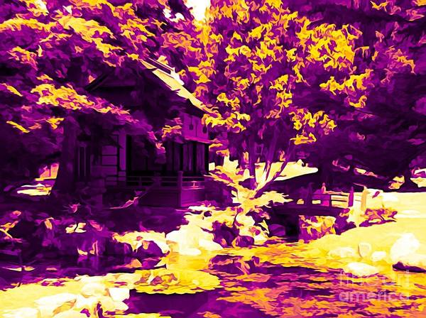 Photograph - Sonnenberg Gardens Japanese Garden Tea House Ambertine Effect by Rose Santuci-Sofranko