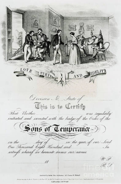 Temperance Movement Photograph - Sons Of Temperance Certificate by Photo Researchers