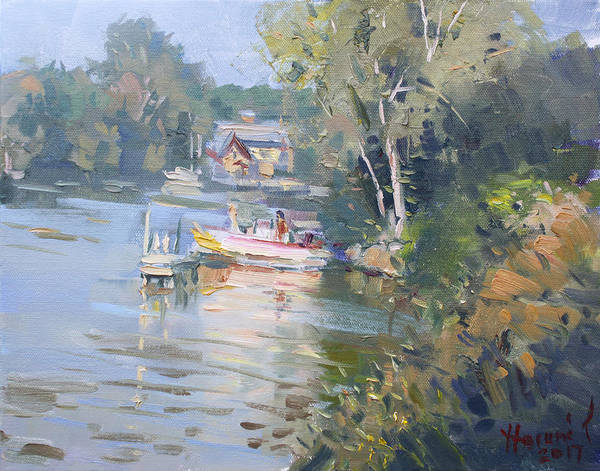 Tonawanda Wall Art - Painting - Sunset On Tonawanda Canal by Ylli Haruni