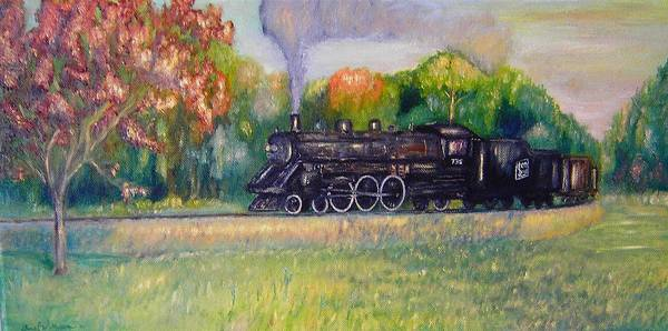 Model Trains Painting - Soo Line 736 by Daniel W Green