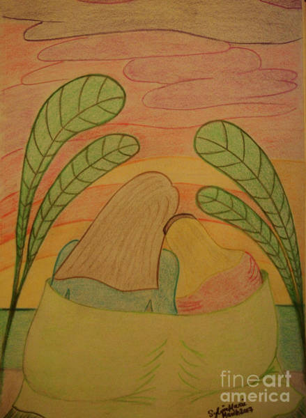 Soothing Drawing - Soothing Sunset - Mother And Daughter Bask In The Moment Leaning Heads Together-drawing by Sylvie Marie