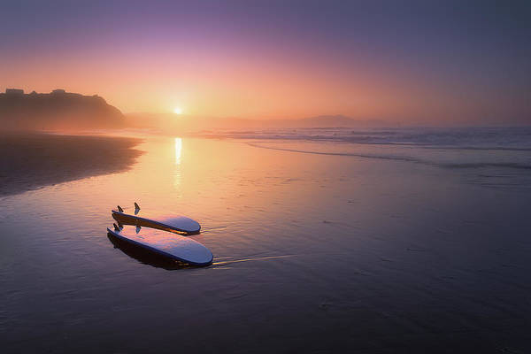 Sopelana Beach With Surfboards On The Shore Art Print