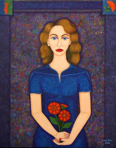 Acrilic Painting - Sophia De Mello Breyner - Why The Poem Speaks by Madalena Lobao-Tello