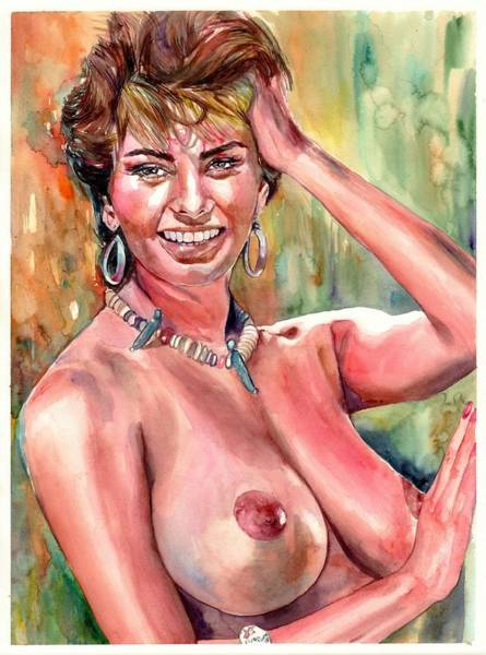 Naked Woman Painting - Sophia Loren Nude by Suzann's Art