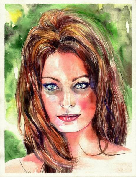 Naked Woman Painting - Sophia Loren Portrait by Suzann's Art