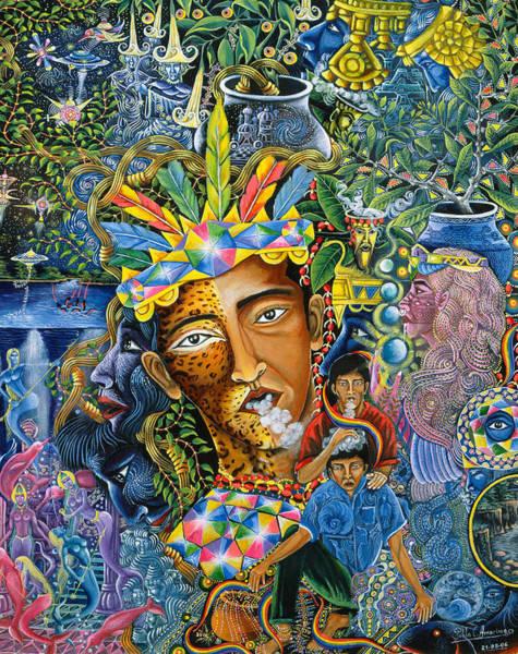 Art Print featuring the painting Soplo De Banco Puma by Pablo Amaringo