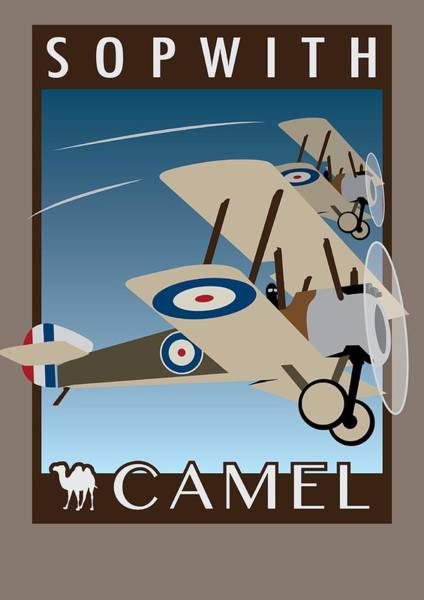 World War 1 Digital Art - Sopwith Camel - Art Deco Print by Ed Jackson