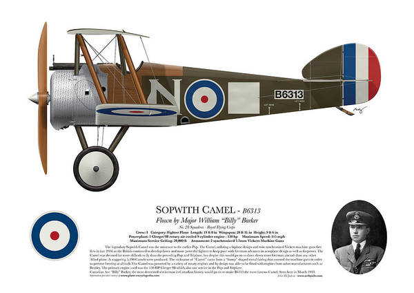 World War 1 Digital Art - Sopwith Camel - B6313 March 1918 - Side Profile View by Ed Jackson