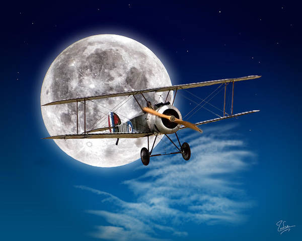Wall Art - Photograph - Sopwith Camel In Front Of The Moon by Endre Balogh