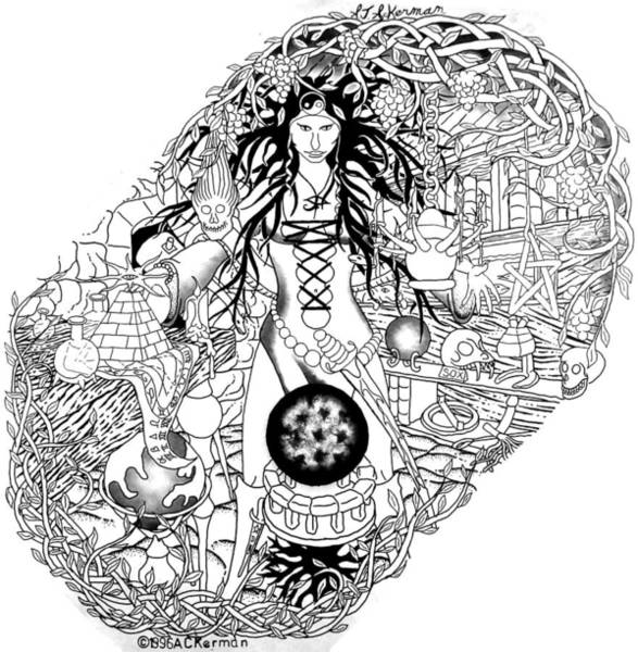 Sorcery Drawing - Sorceress by Andrew Ackerman