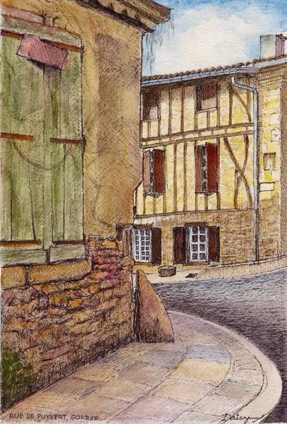Half Timbered Painting - Soreze Aquarelle by Dai Wynn