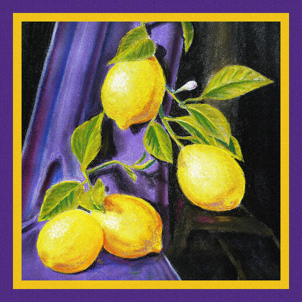Wall Art - Painting - Sorrento Lemons Square Design by Irina Sztukowski