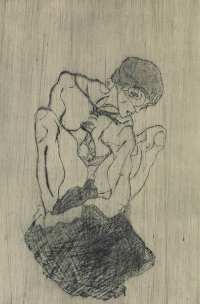 Relief - Sorrow by Egon Schiele