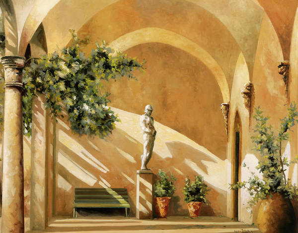 Statue Wall Art - Painting - Sotto Il Portico by Guido Borelli