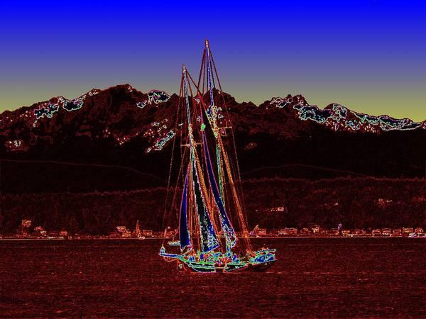 Schooner Digital Art - Sound Sailin 4 by Tim Allen