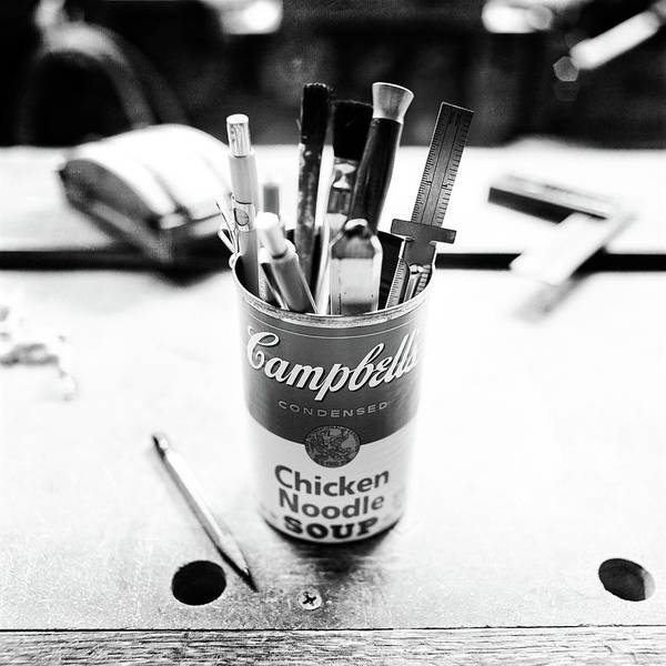 Woodworking Wall Art - Photograph - Soupcan Pencil Holder On Workbench In Bw by YoPedro