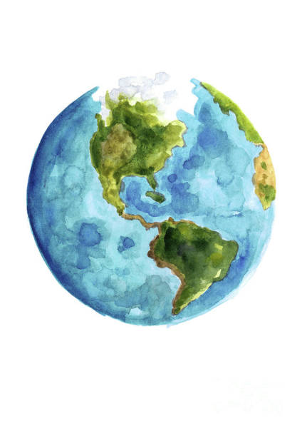 Central America Painting - Planet Earth, South America Illustration, Watercolor World Map Painting by Joanna Szmerdt