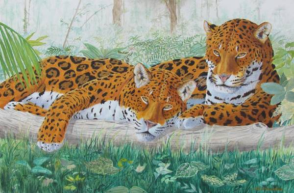 Food Chain Painting - South American Jaguars by Mike Stockwell