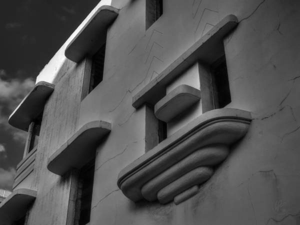 Photograph - South Beach Deco Elements 001 Bw by Lance Vaughn