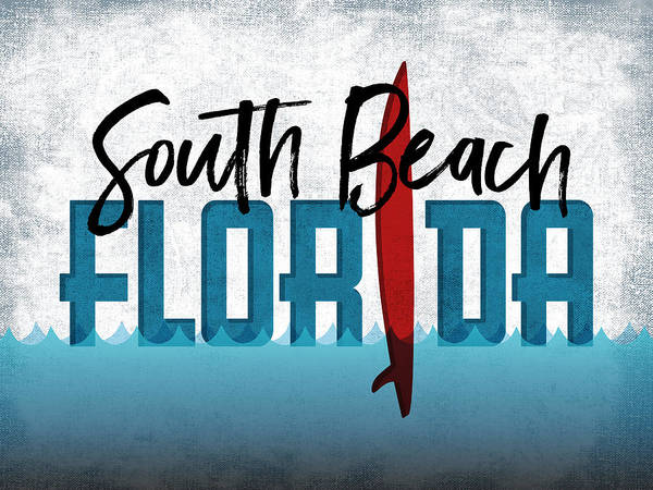 South Beach Digital Art - South Beach Red Surfboard	 by Flo Karp