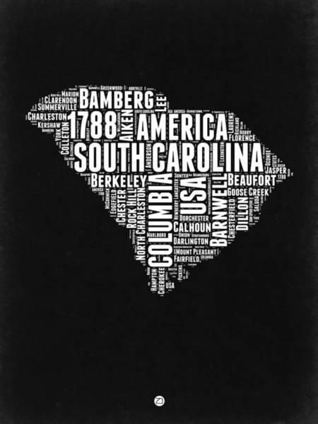 South Carolina Wall Art - Digital Art - South Carolina Black And White Map by Naxart Studio
