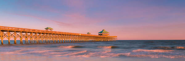 Art Print featuring the photograph South Carolina Fishing Pier At Sunset Panorama by Ranjay Mitra
