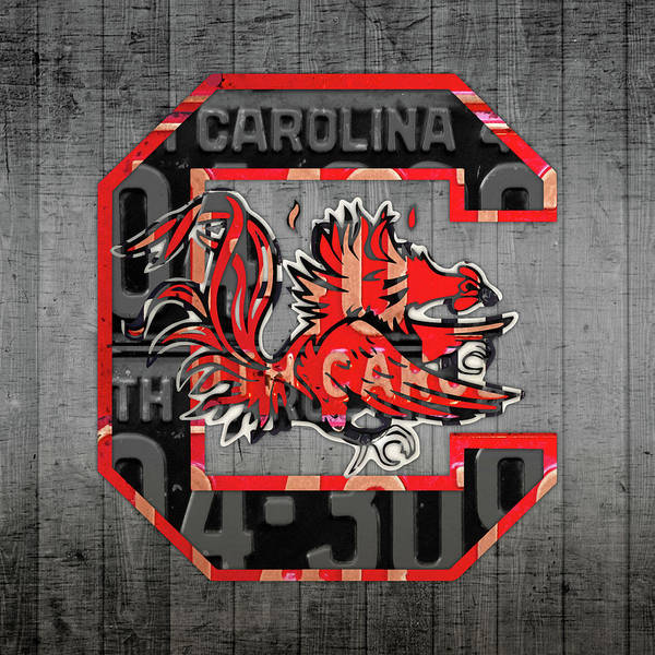 Wall Art - Mixed Media - South Carolina Gamecocks Sport Team Vintage Logo License Plate Art by Design Turnpike