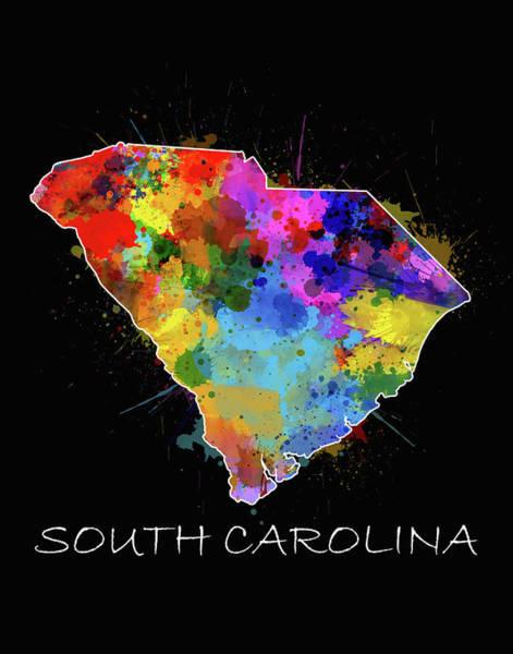 Charleston Digital Art - South Carolina Map Color Splatter 2 by Bekim Art