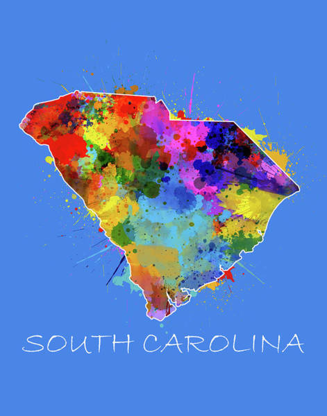 Charleston Digital Art - South Carolina Map Color Splatter 3 by Bekim Art
