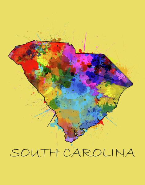 Charleston Digital Art - South Carolina Map Color Splatter 4 by Bekim Art