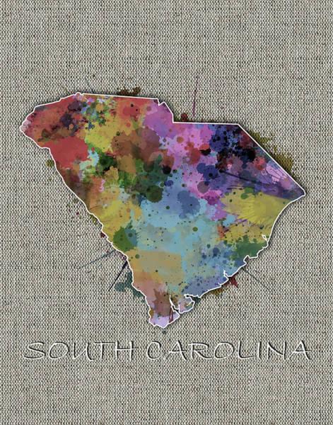 Charleston Digital Art - South Carolina Map Color Splatter 5 by Bekim Art