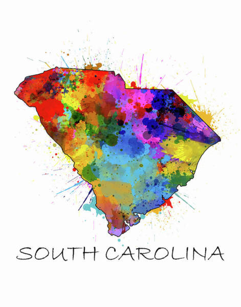 Charleston Digital Art - South Carolina Map Color Splatter by Bekim Art