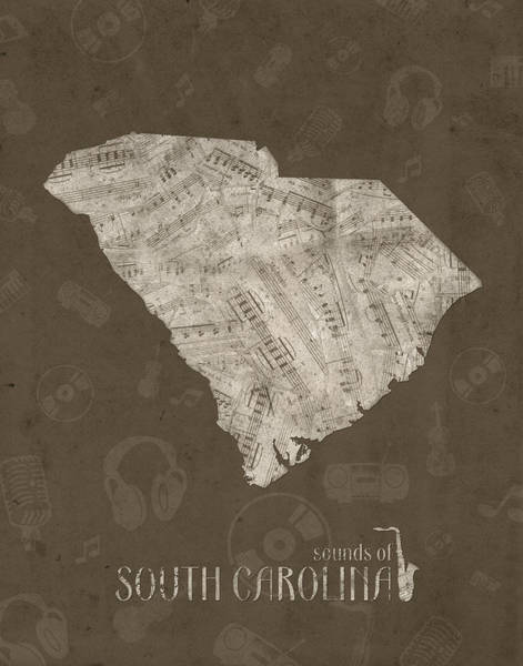Charleston Digital Art - South Carolina Map Music Notes 3 by Bekim Art