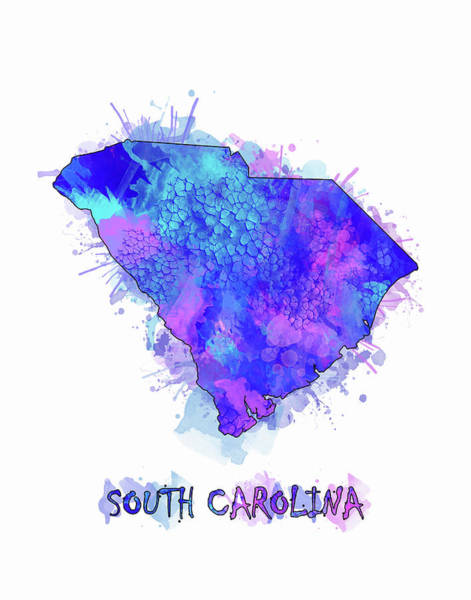 Southwest Digital Art - South Carolina Map Watercolor 2 by Bekim Art